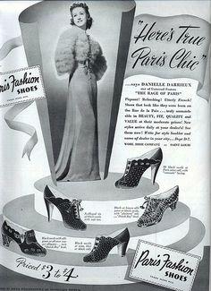 Danielle Darrieux in an ad for Paris Fashion shoes 1938