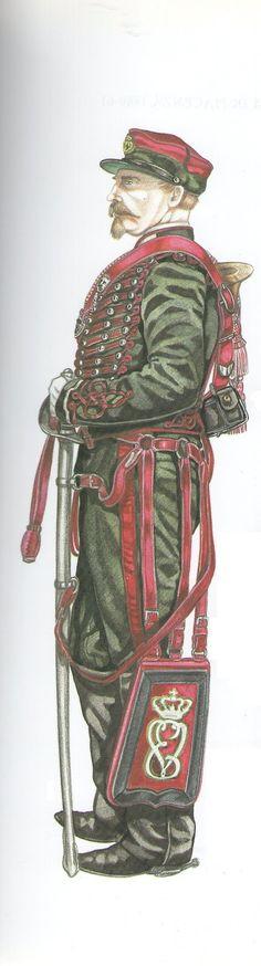 Ussari di Piacenza: Tromba in tenuta ordinaria con berretto 1860-1861