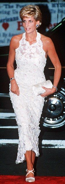 Catherine Walker created this stunning dress for Diana's first public outing after her divorce in 1996.