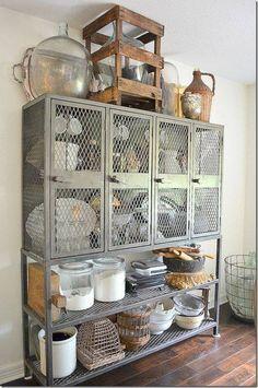 metal shelving provides additional kitchen storage