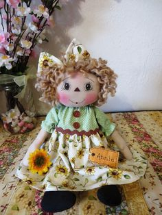 """13"""" Primitive Raggedy Ann doll sunflower dress painted face w/sunflower & tag #NaivePrimitive"""