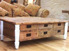 Reclaimed Elm Coffee Table with 6 Drawers