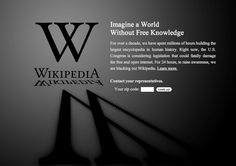 Wikipedia's blackout page.  Now here's a genius move.  They can afford to do this, because there is no alternative.  People's pain at not using the site points them right to the message, rather than turning to another service.  Cuz there isn't.