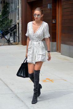 Mini dress with over the knee boots.