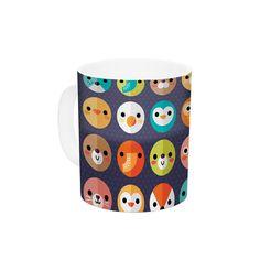 "Daisy Beatrice ""Smiley Faces Repeat"" Animal Pattern Ceramic Coffee Mug"
