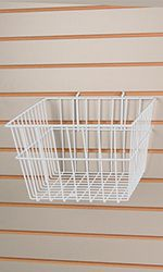 Count of 2 Retails White finished Wire Slatwall Basket x x Wire Basket Shelves, Wire Wall Basket, Wire Baskets, Baskets On Wall, Storage Baskets, Retail Shelving, Slat Wall, Store Fixtures, Plastic Laundry Basket