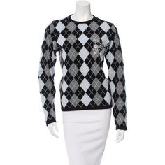 Pre-owned Comme des Gar?ons Cashmere Argyle Sweater ($125) ❤ liked on Polyvore featuring tops, sweaters, green, green top, cashmere argyle sweater, comme des garçons, argyle sweater and cashmere tops