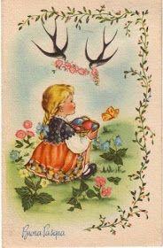 Soloillustratori: Perle Vintage Cards, Vintage Postcards, Easter Art, Vintage Easter, Illustration Art, Vintage Illustrations, Ephemera, Images, Bunny