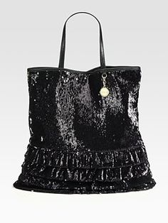 RED VALENTINO Sequin & Leather Trim Ruffled Tote Bag Black $525  http://hollyrotic.mybigcommerce.com/red-valentino-sequin-leather-trim-ruffled-tote-bag-black-525/