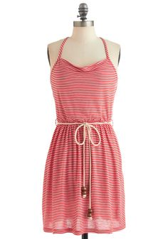 Parrot-y and Satire Dress - White, Stripes, Casual, Sheath / Shift, Racerback, Summer, Short, Red, Nautical