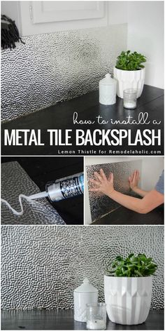 Learn how to install a unique and modern but easy to clean metal ceiling tile b. Learn how to install a unique and modern but easy to clean metal ceiling tile backsplash for a lau Metal Tile Backsplash, Metal Ceiling Tiles, Adhesive Backsplash, Easy Backsplash, Painting Tile Backsplash, Glass Tiles, Mirror Tiles, Home Renovation, Home Remodeling