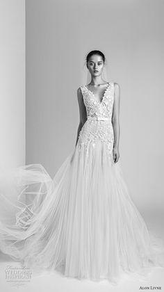 alon livne 2018 bridal sleeveless v neck heavily embellished bodice tulle skirt romanitc a  line wedding dress (1) mv  -- Alon Livné White 2018 Wedding Dresses