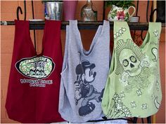 Simple shopping bags made from old t-shirts - I NEVER wear tee's but seem to accumulate them anyway. - Ginn  Art Threads: Wednesday Sewing - Repurposed T-shirt Bags