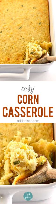 Corn casserole makes a comforting classic casserole! Made of creamed and whole corn, this corn casserole comes together quickly and makes a favorite side dish! Easy Corn Casserole, Vegetable Casserole, Casserole Recipes, Thanksgiving Side Dishes, Thanksgiving Recipes, Corn Dishes, Good Food, Yummy Food, Vegetable Side Dishes