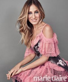 Sarah Jessica Parker wears pink dress with cut-out shoulders for Marie Claire magazine September 2016 issue