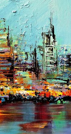 Modern cityscape paintings on canvas. Future City is a hand-painted artwork, created by the artist Osnat Tzadok. An online art gallery of modern paintings - artwork id Future City, City Art, Abstract Painting Techniques, Abstract Art, Paint Techniques, Knife Art, Beginner Painting, Contemporary Art, Modern Artwork
