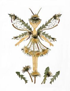 Dandelion Fairy * Pressed Flower Fairy Art * Faery Wings * 8 x 10 Print * A Magical Woodland Fairy Sprite made from Pressed Flower Blossoms