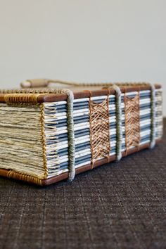 This is a handmade solid mahogany (150 mm x 210 mm) exposed spine sketching journal and notebook featuring a Celtic sewing with a coptic headband and spiral binding on hemp ropes. For more details about these books and how they're made visit ToeBeanBindery on Etsy #bookart #handmade #mahogany #woodenbook #journals #sketchbooks #bookbinding #bibliophile #exposedspine #sewing #papercraft #woodworking #bookish #designinspiration #handcrafted #makersgonnamake #woodbook #book #wood #woodwork Book Binding Design, Book Crafts, Paper Crafts, Handmade Books, Handmade Gifts, Wood Book, Journal Notebook, Book Making, Bookbinding