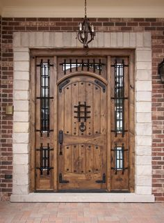 Shop for Top Quality Rustic Exterior Doors in Knotty Alder or Teak. Arched Top Exterior Teak Doors and Arched Top Exterior Knotty Alder Doors with Enhance the Look of Your Home Wood Entry Doors, Wood Exterior Door, Rustic Exterior, Wooden Front Doors, Rustic Doors, Entrance Doors, Entrance Ideas, Doorway, Cool Doors