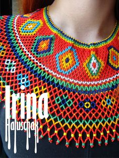 Hand-made by Irina Haluschak Diy Necklace, Collar Necklace, Crochet Necklace, Seed Bead Jewelry, Beaded Jewelry, Beaded Crafts, African Beads, Beading Tutorials, Bead Art