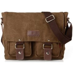 Zenness Canvas Hiking Traveling Satchel Messenger Bag (€27) ❤ liked on Polyvore featuring bags, messenger bags, accessories, purses, messenger bag, sac, shoulder bags, travel satchel, brown bag and brown leather messenger bag