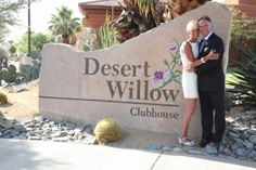 New Mr + Mrs. in fron of the Desert Wilow Clubhouse by Frank Panaro Photography and Video   #PalmSpringsWedding #CoachellaValleyWedding #PalmDesertWedding #desertwedding #socalwedding #californiawedding #southerncaliforniawedding #outdoorwedding