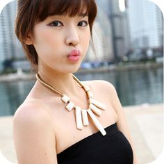 The ivory white exaggeration rectangular geometric necklace metal punk necklace ,shop at Costwe.com
