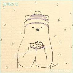 1410 雪のはりこちゃん a snow hedgehog #illustration #hedgehog #polarbear #イラスト #ハリネズミ #シロクマ #なみはりねずみ