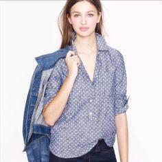 40a33cf743190 Circle-print chambray popover - denim   chambray - Women s shirts   tops -  J.Crew --- just got this!