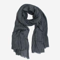 Jeansblauwe sjaal met kreukelig effect