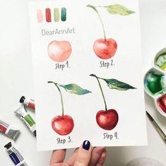 Wie zeichnet man eine Kirsche, Anleitung in vier Schritten für Anfänger, mit Aquarellfarben malen