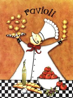 Chef - Ravioli - By: Artist Sydney Wright Kitchen Prints, Kitchen Wall Art, Chef Pictures, Chef Kitchen Decor, Poster Prints, Framed Prints, Cafe Art, Popsicle Stick Crafts, Le Chef