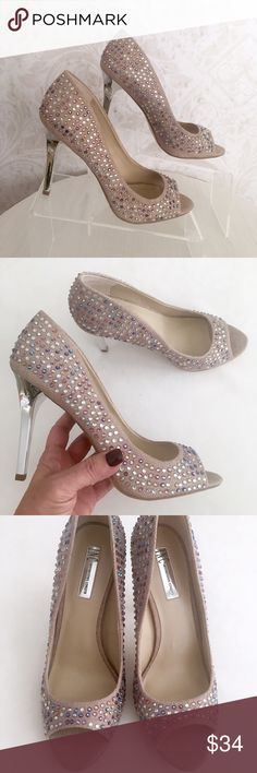 """💥HP💥 Gorgeous INC tan linen heels w/ bling Super chic! Graceful, sexy peep-toe stiletto silhouette. Pale tan """"linen"""" fabric embellished with multi-colored crystals. Mirror silver tone covered heels. Perfect for day or night. NWOT; never worn. INC International Concepts Shoes Heels"""