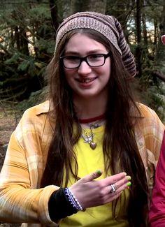 """Rainy borrows my shirts, but when I wear them they reach to here.."" Snowbird, Birdie, from Alaskan Bush People."