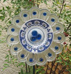 Blue Daisy Glass Flower Plate Garden Art Suncatcher Sculpture Recycled Upcycled on Etsy, $55.00