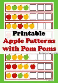 Printable Apple Patterns with Pom Poms - From ABCs to ACTs