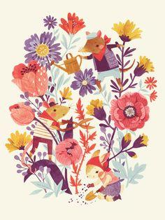 The Garden Crew Art Print by Teagan White Art And Illustration, Floral Illustrations, Land Art, Grafik Design, Of Wallpaper, Illustrators, Artwork, Art Prints, Drawings