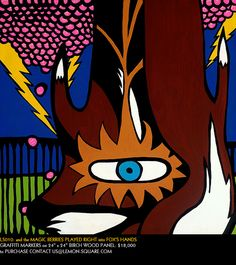 """LS010: and the MAGIC BERRIES PLAYED RIGHT into FOX'S HANDS by LEMONSQUARE. GRAFFITI MARKERS on 24""""x24"""" BIRCH WOOD PANEL. $18,000"""
