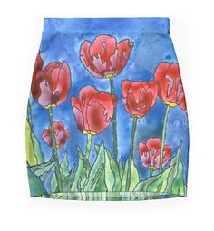 Pencil skirt with tulip design by Scatterlings