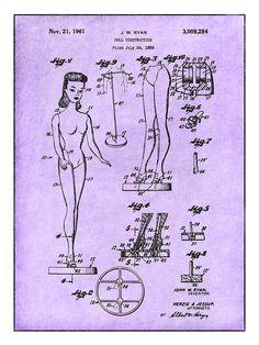 1961 Barbie Doll Toy Patent Print Reproduction Poster 18 x 24 Gift   Buscar las personas adecuadas para plasmar la idea en diseños concretos y pasar de bocetos a los diseños tecnicos.