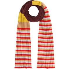 Marni Striped Virgin Wool Scarf ($450) ❤ liked on Polyvore featuring accessories, scarves, red, marni, red scarves, striped shawl, red shawl and striped scarves