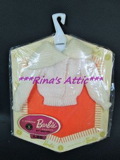 Vintage 1962 Barbie Off-White Pink Knit Early CARDIGAN SWEATER PAC NRFP on Card