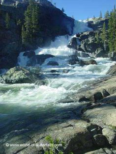 Looking back up towards Tuolumne Falls, Yosemite National Park / Grand Canyon of the Tuolumne River / near Glen Aulin, California, USA Beautiful Places To Visit, Great Places, Places To Go, Beautiful Waterfalls, Beautiful Landscapes, Yosemite National Park, National Parks, Tuolumne Meadows, Amazing Nature