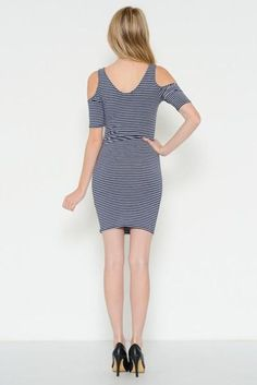 The Open Shoulder Dress: Navy is perfect for date night or just buzzing around town. It's cute, super comfy, and with stripes you can never go wrong! #openshoul