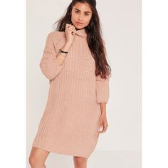 Missguided Oversized Knitted Mini Jumper Dress Pink (£48) ❤ liked on Polyvore featuring dresses, rose, red dress, missguided dress, pink dress, rosette dress and red sweater dress