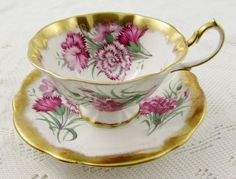 Queen Anne Pink Carnation Flower Tea Cup and Saucer with Heavy Gold Gilt