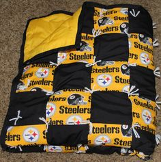 NFL Pittsburgh Steelers Baby Quilt Ready by HollysHandtiedQuilts