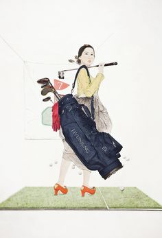 주부9단의 봄날, Painting with Korea traditional ink,Color and collage on Traditional Asian paper, 130 x 191 cm, 2014