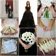 Schwarz & Golden & Weiß Hochzeit im Winter Inspiration