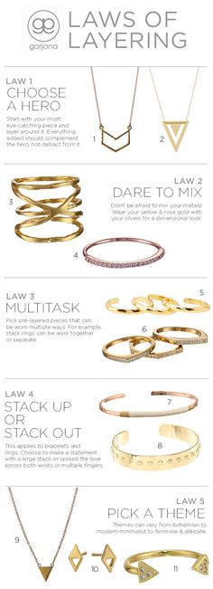 Love the look of layered bracelets, rings, and necklaces? Be sure to honor these Laws of Layers from Gorjana. #jewelry #accessories #fashion #howtos